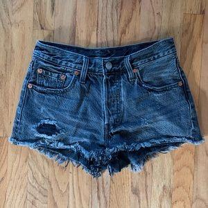 levi 501 grey denim shorts